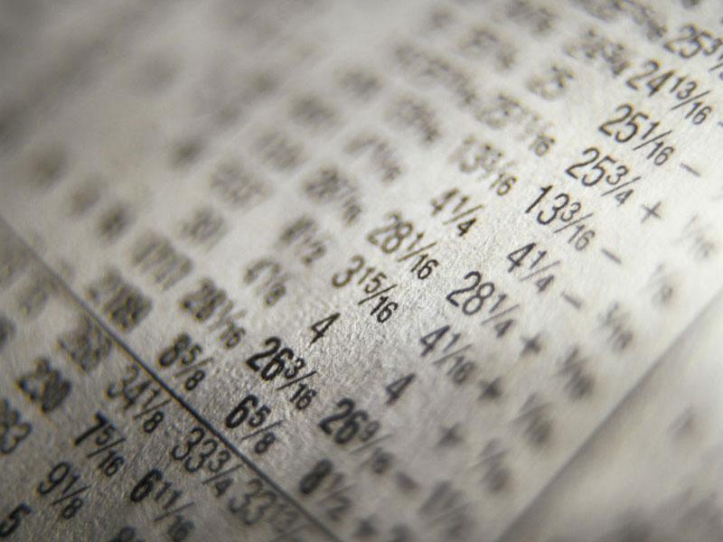 Stock market sheet.