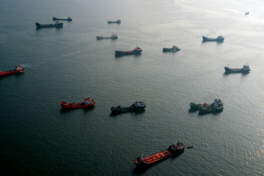 Transport ships in the ocean.