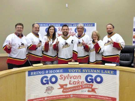 Councillors in hockey jerseys.