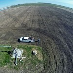 Brandon Gibb takes a picture of himself while using his quadcopter to survey his farm near Pincher Creek.