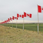 Canadian flags erected alongside a highway