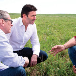 Steve Easterbrook (centre), the head of the global fast-food giant, visiting Graeme Finn's ranch near Crossfield in June.