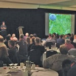 Odette Menard, an agricultural engineer and soil conservation expert with Quebec's Ministry of Agriculture, speaks to a packed house during the Western Canada Conference on Soil Health.