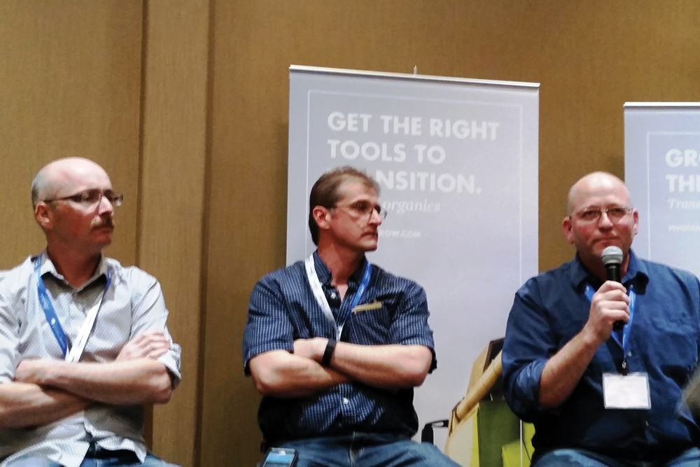 Organic producers Steven Snider (l), Tim Hoven (middle), and Ward Middleton (r) spoke about creating an organic crop rotation at the Organic Alberta Conference in Olds.