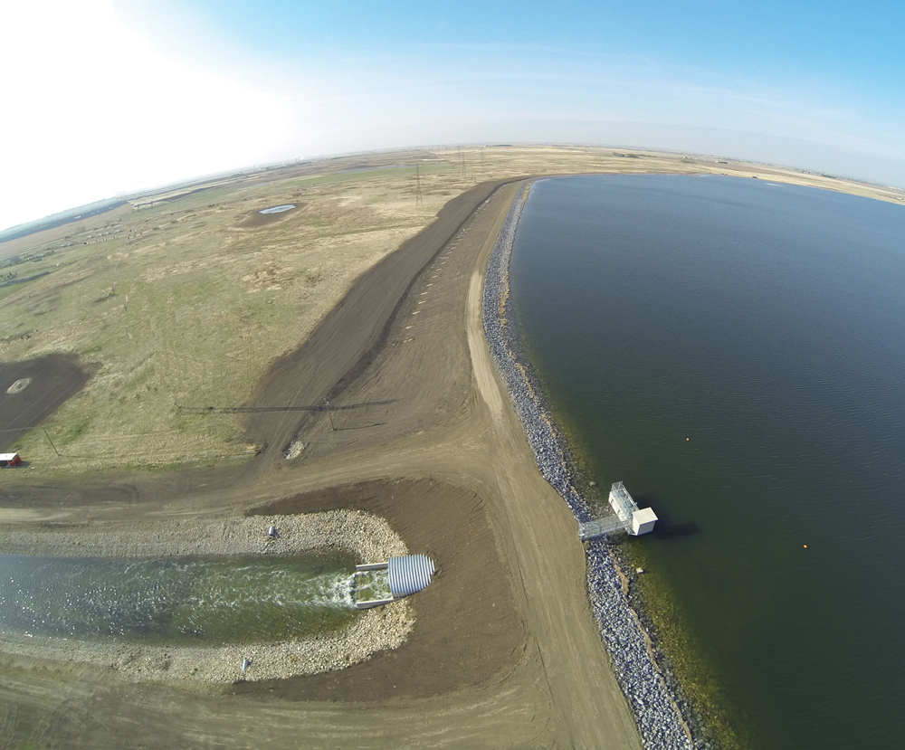 The capacity of the Langdon Reservoir was doubled two winters ago, but the big story for irrigation in Alberta is the gains in efficiency in the last decade and a half.