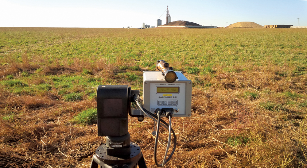Using open-path lasers (pictured), federal research scientist Sean McGinn found between 50 to 60 per cent of nitrogen 