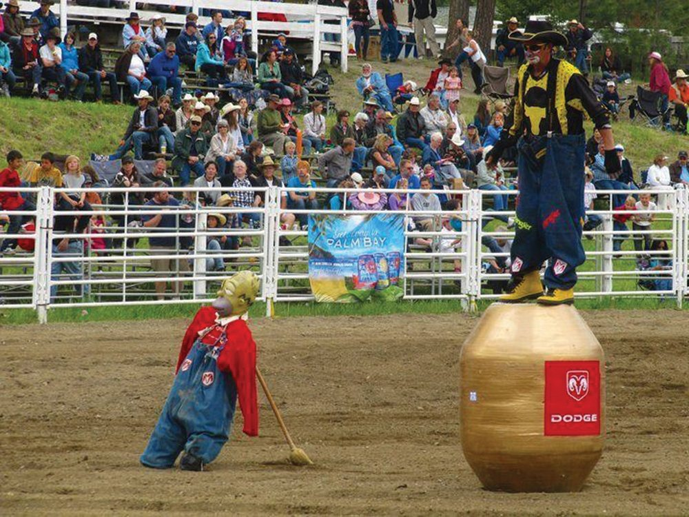 Dennis Halstead provides comic relief between rodeo events, part of his role as a rodeo clown.