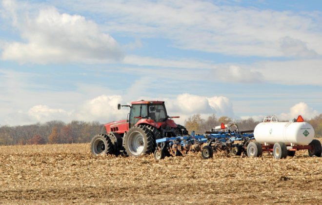 The fuel in the tractor is exempt from the carbon tax, but not the fertilizer that's being applied.