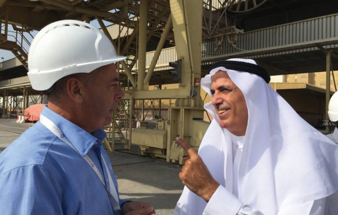 The surge in Black Sea wheat is a huge — and underappreciated — threat, says Alberta producer Greg Porozni (left), seen here talking with Essa Al Ghurair, owner of the United Arab Emirates' largest flour mill and canola crush plant, during a trade mission earlier this winter.