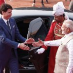 Prime Minister Justin Trudeau shakes hands with his Indian counterpart Narendra Modi 