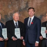 The 2018 Agriculture Hall of Fame inductees (from left, with Agriculture Minister Oneil Carlier) are Ronald Howard, Dietrich Kuhlmann, and Garnet Altwasser.