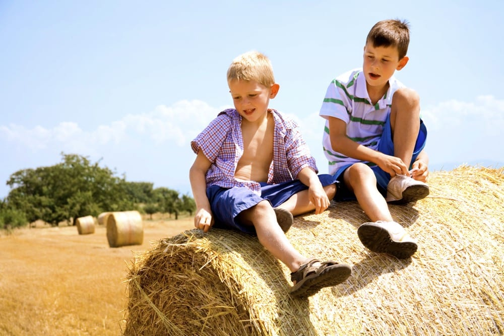 Boys on hay bale