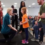 U.S. Senator Elizabeth Warren, who is seeking the Democrats' 2020 nomination for president, greets Ella Clare Campbell after speaking in Memphis on March 17, 2019. (Photo: Reuters/Karen Pulfer Focht)