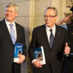 Prime Minister Stephen Harper and Finance Minister Joe Oliver head to the House of Commons to deliver Tuesday's budget. (Deb Ransom photo courtesy PMO)