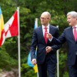 Ukraine's Prime Minister Arseniy Yatsenyuk and Canada's Prime Minister Stephen Harper meet at Meech Lake's Willson House at Chelsea, Que. on Tuesday. (Deb Ransom photo courtesy PMO)