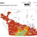 This WeatherFarm map shows the heavy rainfall in southern Saskatchewan July 27