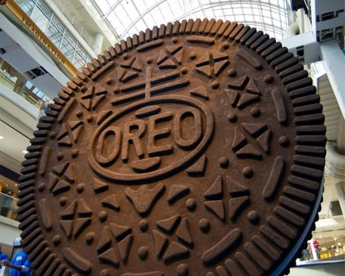 Mondelez's brands in Canada include Oreo cookies, which marked their 100th anniversary with this giant replica unveiled in 2012 in Toronto. (CNW Group/Kraft Canada)