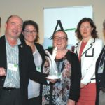 Staff of Le Bulletin were presented Oct. 7 with ACRA's Prix Roger-Blais. From left are awards jury president Yolaine Villeneuve, public and corporate affairs director of the Conseil des industriels laitiers du Quebec (CILQ); Le Bulletin editor Yvon Therien; writers Celine Normandin and Marie-Josee Parent; associate editor Marie-Claude Poulin; and writer Nicolas Mesly. (LACRA.net)