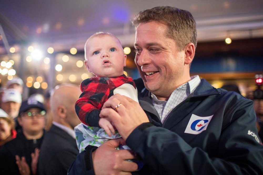 Federal Conservative leader Andrew Scheer campaigns in Langley, B.C. on Oct. 11, 2019. (Photo: Reuters/Carlos Osorio)