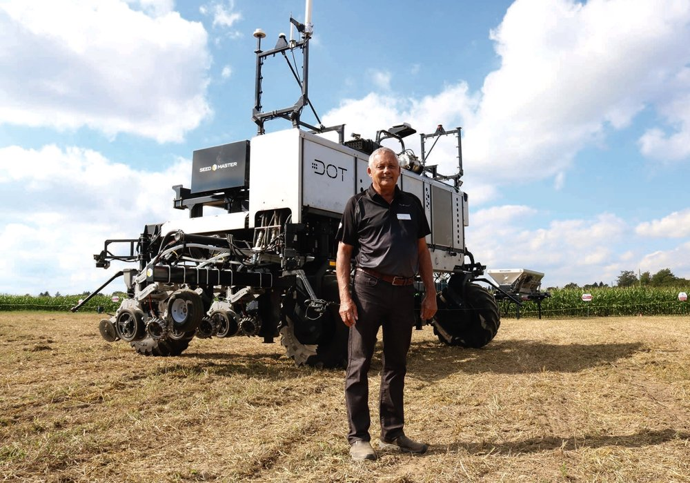 Norbert Beaujot's DOT system, shown here in Woodstock, Ont. in September 2019, has a new majority owner in South Dakota-based Raven Industries. (Farmtario photo by John Greig)