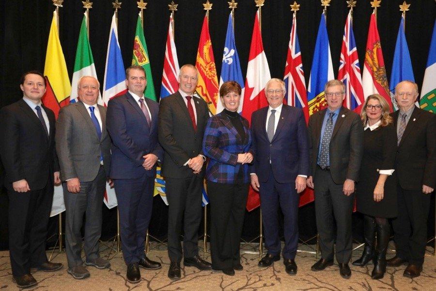 Agriculture ministers meeting Tuesday in Ottawa included (l-r) Devin Dreeshen (Alberta), David Marit (Saskatchewan), Bloyce Thompson (P.E.I.), Andre Lamontagne (Quebec), Marie-Claude Bibeau (Canada), Ernie Hardeman (Ontario), Blaine Pedersen (Manitoba), Lana Popham (B.C.) and Keith Colwell (Nova Scotia). (Photo courtesy AAFC)