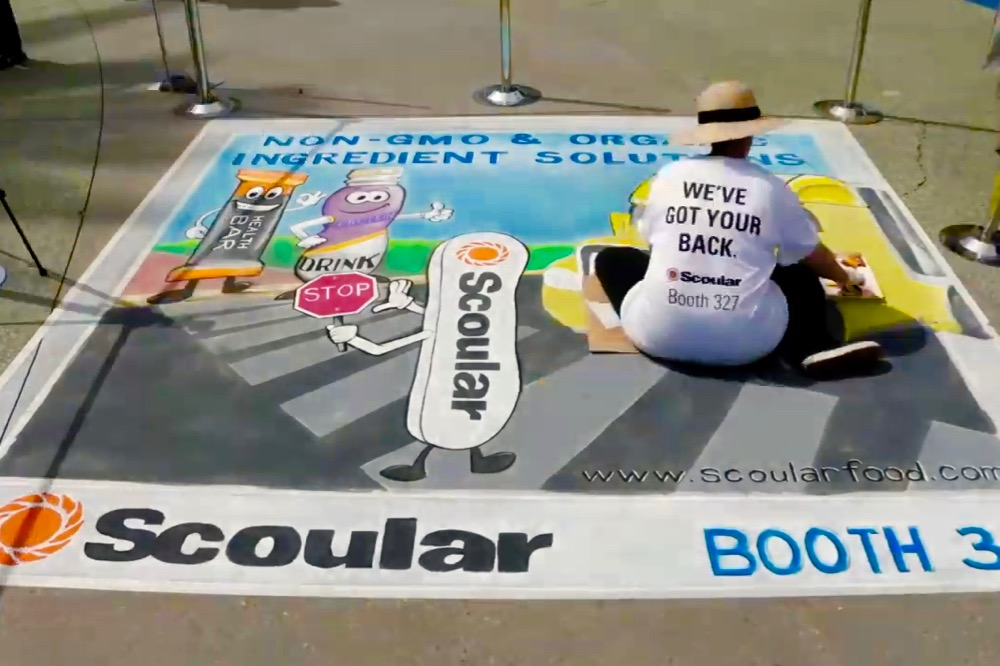 Scoular sidewalk chalk art at the Engredea Expo in Anaheim, Calif. in 2017. (Scoular video screengrab via YouTube)