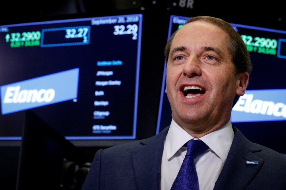 Elanco Animal Health CEO Jeff Simmons speaks during an interview at the New York Stock Exchange (NYSE) on Sept. 20, 2018. (Photo: Reuters/Brendan McDermid)