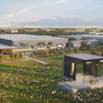 The redeveloped Exhibition Park in Lethbridge will include a 'festival lawn' on its south side. While large events can't take place during the pandemic, the project is an example of building for the future, the government said.