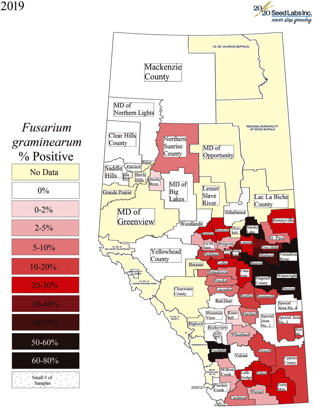 Fusarium head blight is widespread in southern Alberta but is only present in small levels or not at all in the north. The province's decision to remove it from the pest act has sparked a protest, including a call on the home page of the MD of Peace urging farmers to ask for a refund of the checkoff paid to Alberta Wheat and Alberta Barley.