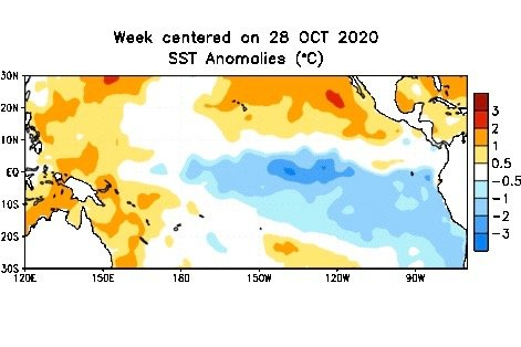 Average sea surface temperature anomalies over the equatorial Pacific Ocean for the week centred on Oct. 28, 2020 compared to 1981-2010 base period. (CPC.ncep.noaa.gov)