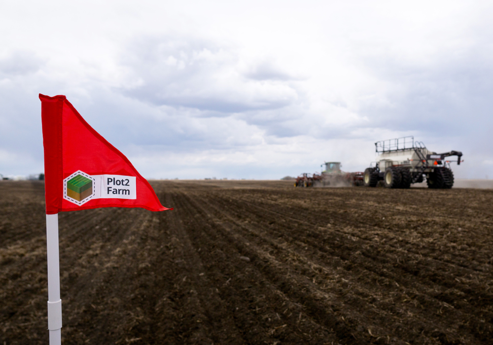 A flag is planted at each corner of each treatment in the Plot2Farm program so results can be accurately measured.