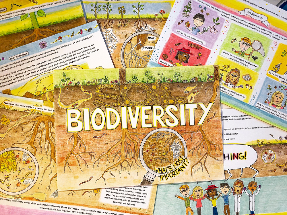 Soil Biodiversity: What's most important? features six characters who come to realize that all of their areas of study are key to a healthy soil ecosystem.