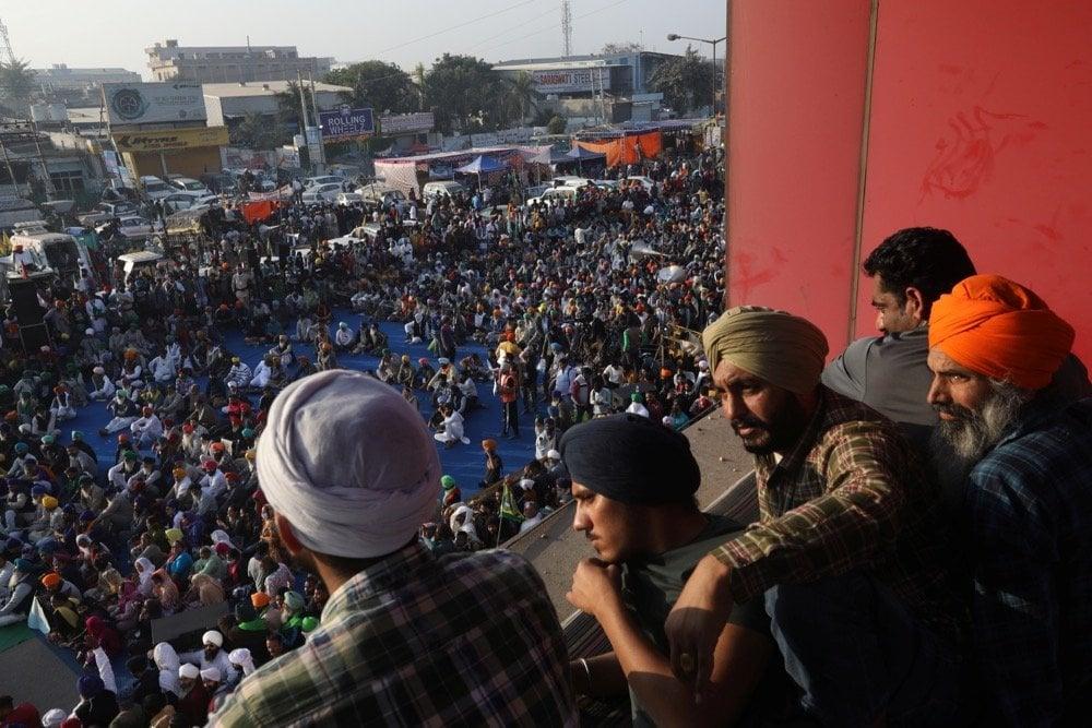 Farmers attend a protest during a nationwide strike against newly passed farm bills at the Singhu border near Delhi on Dec. 8, 2020. (Photo: Reuters/Anushree Fadnavis)