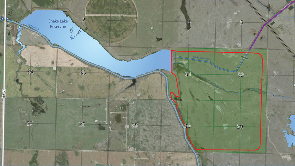 Pictured is the Snake Lake Reservoir, about 20 kilometres southeast of Bassano, as it is today. The area outlined in red shows an expansion which will add 53,000 acre-feet to the reservoir.